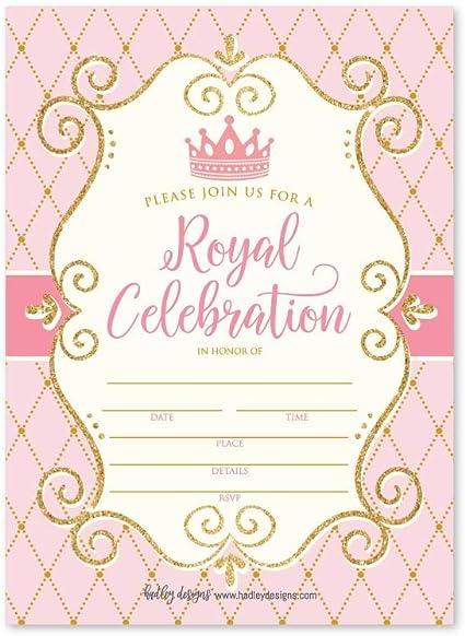 Amazon.com: 25 invitaciones de fiesta vintage de princesa ...