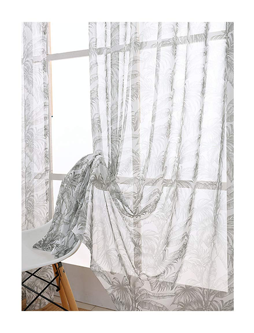 Aside Bside Transparent Window Decoration Fashion Style Sheer Curtains Banana Leaves Printed Rod Pocket Top Houseroom Sitting Room Child Room (1 Panel, W 52 x L 104 inch, Grey)