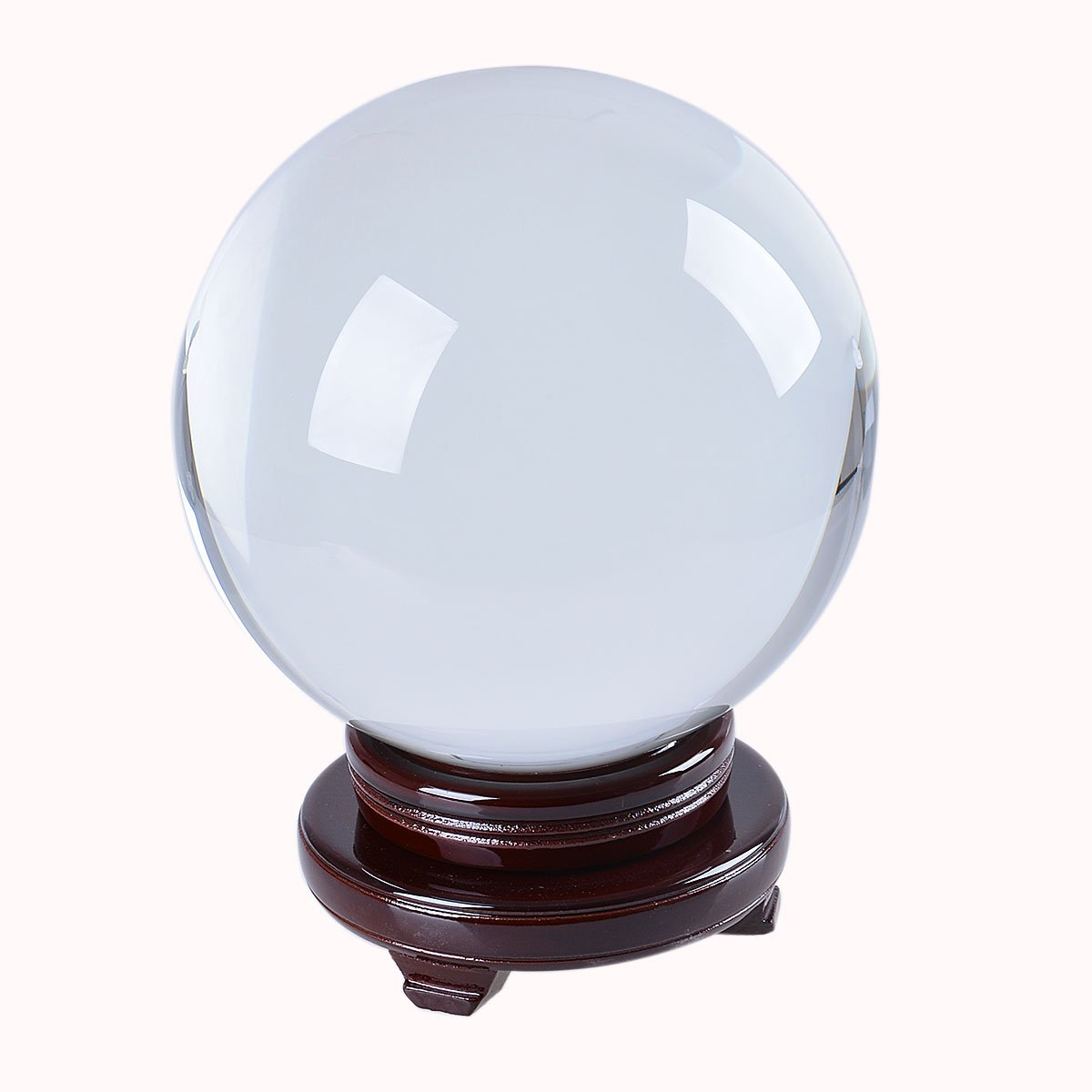LONGWIN Huge Clear Divination Crystal Ball 200mm (8 Inch) Glass Sphere Free Wooden Stand Home Decoration Ornaments