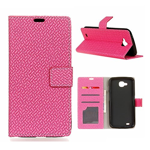 YHUISEN Weave Pattern Magnetic Closure PU Leather Wallet Flip Folio Case With Stand/Card Slot Protective Case Cover For LG X Power 2 / LG K10 Power ( Color : Pink )