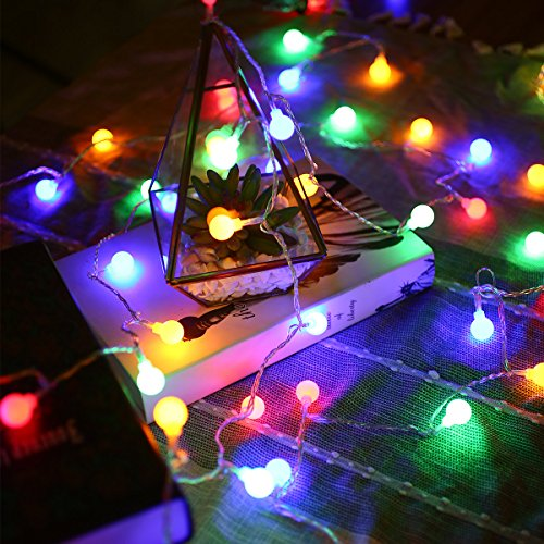 LE LED String Lights, Battery Powered, 16.4ft 50 LED Colored Globe Lights, 8 Modes Lighting with Timer, Fairy Twinkle Light Bulb for Garden Patio Party Wedding Christmas Tree Décor