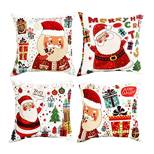 BLEUM CADE Pack of 4 Merry Christmas Throw Pillow Covers Santa Claus Decorative Pillow Covers for Sofa Couch Bed and Car Throw Pillow Covers for $<!--$10.91-->