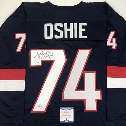 440fafc8e5b Autographed Signed TJ T.J. Oshie United States USA Blue Olympics Hockey  Jersey Beckett BAS COA