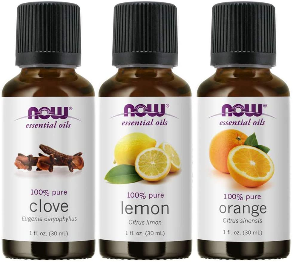 3-Pack Variety of NOW Essential Oils: Blues Relief- Orange, Clove, Lemon