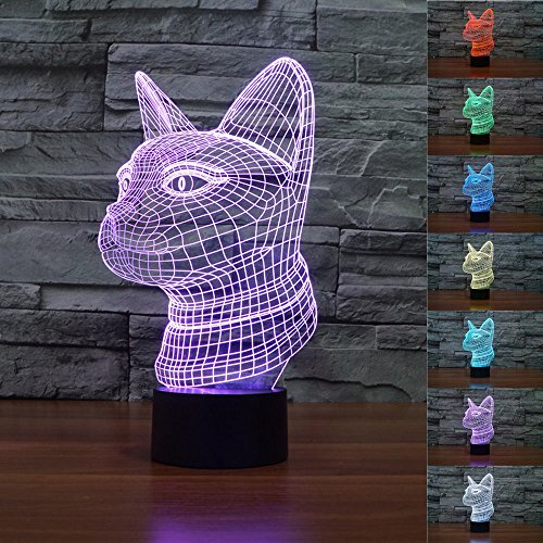 SUPERNIUDB 3D Cat Night Light Acrylic 3D LED USB 7 Color Change LED Table Lamp Xmas Toy Gift ()