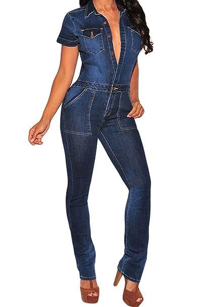 c92f9e595c Amazon.com  LEO BON Womens Super Comfy Stretch Ripped Denim Jeans Short  Sleeve Button Down Jumpsuit Overalls Darkblue  Clothing