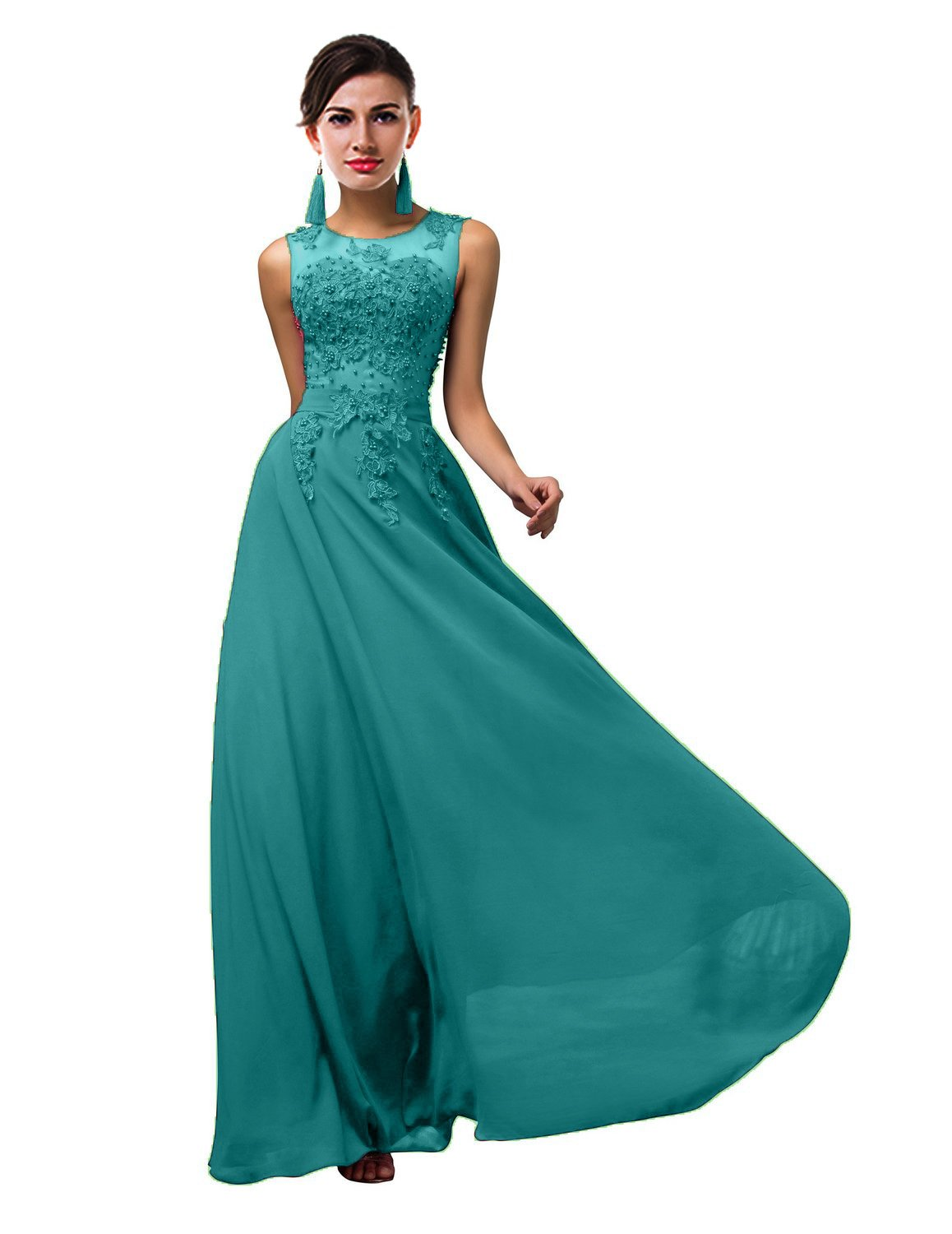 Thalia Women Long Sheer Neck Evening Bridesmaid Dresses Prom Gowns T004LF Turquoise US12