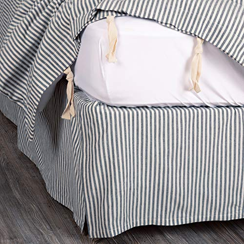 Piper Classics Farmhouse Ticking Stripe Blue Queen Bed Skirt, 60x80 w/ 16