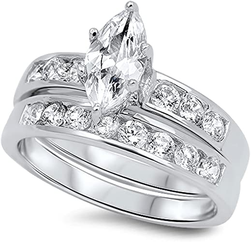 Clear Brilliant Cut Engagement Wedding Marquise Bezel Sterling Silver Ring Set
