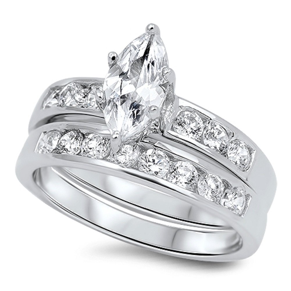 Marquise Cut Wedding Band Engagement Ring Set in 925 Sterling Silver (7)