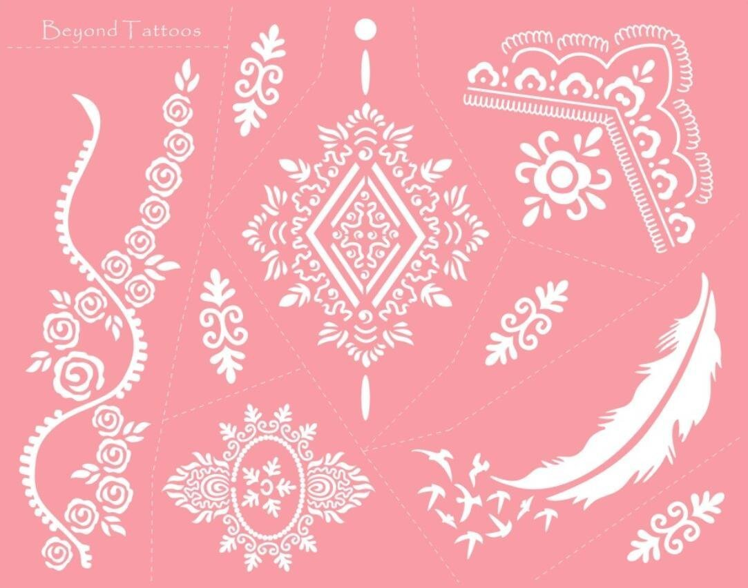 Reusable Micronet Mesh Stencil Tattoo Stencil Template 6 Large Sheet Set Pink by TIE (Image #4)