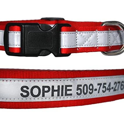 amazon com engraved reflective personalized dog collars pet supplies