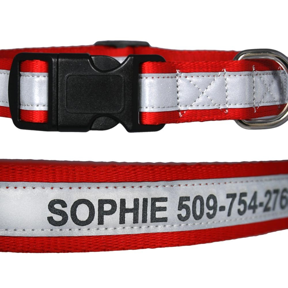 Engraved Reflective Personalized Dog Collars