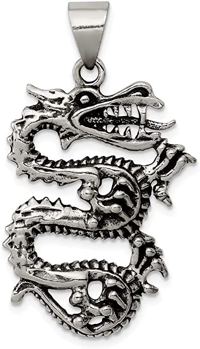 925 Sterling Silver Antiqued and Textured Crocodile Shaped Pendant