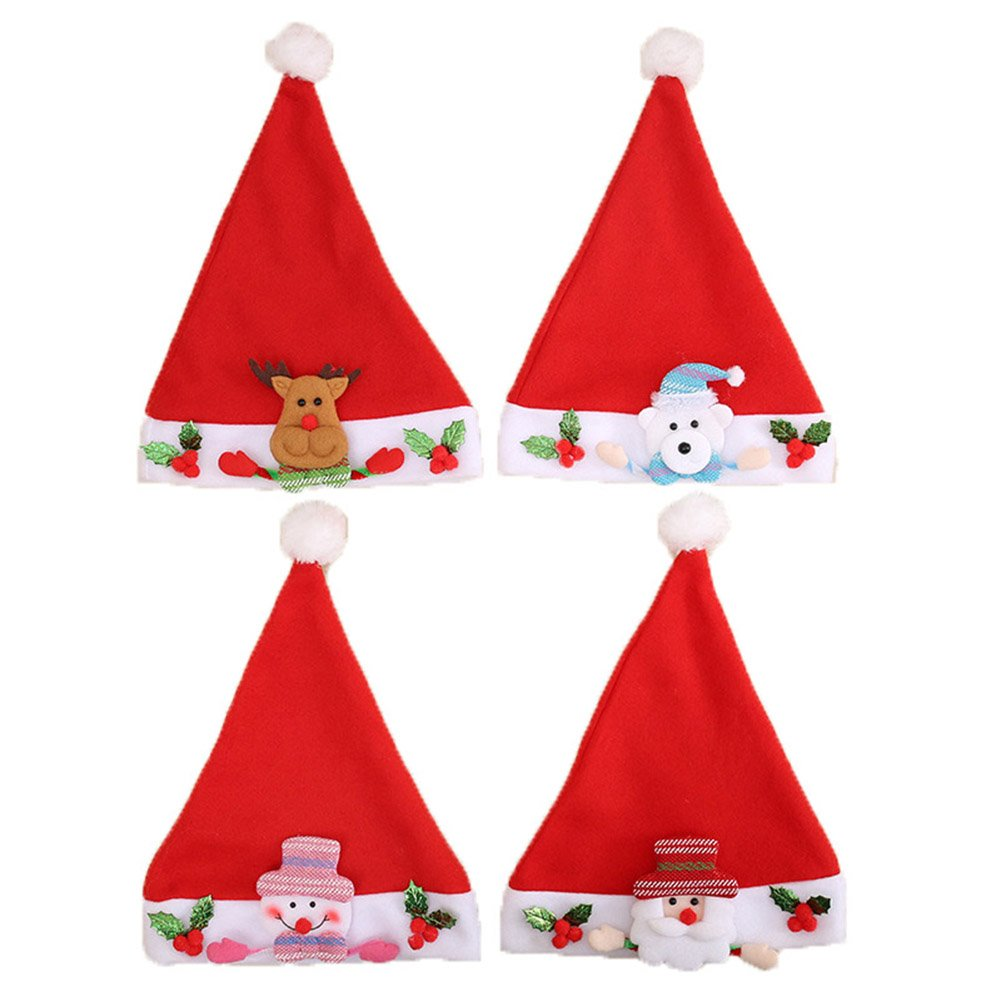 CSLU Pack of 4 Christmas Decorations Santa Claus Plush Hat Children Xmas Cartoon Hats Caps New Year's Gifts Home Party Supplies