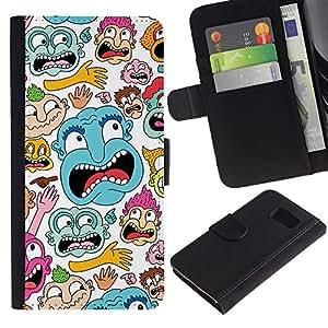 Samsung Galaxy S6 / SM-G920 , la tarjeta de Crédito Slots PU Funda de cuero Monedero caso cubierta de piel ( Face Portrait Cartoon Comic Character Colorful Art)
