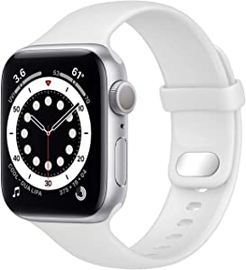 NUKELOLO Sport Band Compatible with Apple Watch Bands 44mm 42mm 40mm 38mm, Soft Silicone Replacement Strap Compatible for iWatch Series SE 6 5 4 3 2 1 Women Men [38/40mm Size in White Color]