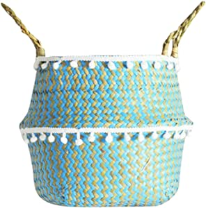 HSada Small Ball Macrame Seagrass Belly Basket with Handles - Foldable Woven Tote Storage Laundry Baskets - Modern Home Decor Plant Pot Cover (White Ball and Blue Zig Zag Pattern)