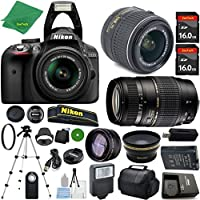 Nikon D3300 24.2 MP CMOS Digital SLR, NIKKOR 18-55mm f/3.5-5.6 Auto Focus-S DX VR, Tamron 70-300mm DI LD Zoom, 2pcs 16GB ZeeTech Memory, Case, Wide Angle, Telephoto, Flash