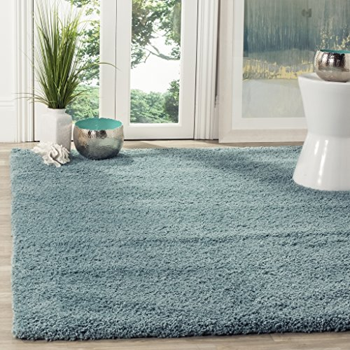 Safavieh California Shag Collection SG151-6060 Light Blue Area Rug (8' x 10') (Green Blue Rugs)