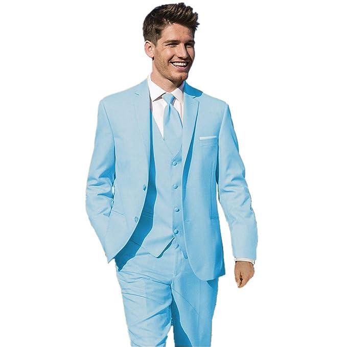 0d4243b0ad mys Hombre Justo lo Novio Boda Smoking Traje pantalón Chaleco Corbata Juego Color  Azul Claro  Amazon.es  Ropa y accesorios