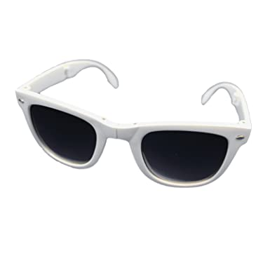 36444eb812 Folding sunglasses Wayfarer fashion shades UV400 protection foldable (White)