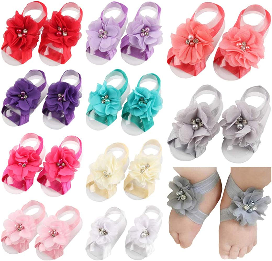 shabby floral printed fabric baby girl elastic headband with barefoot sandals US
