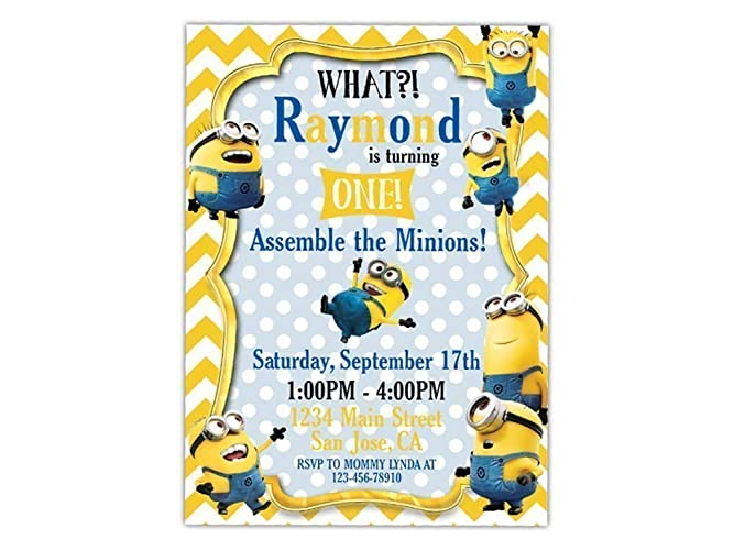 Custom Minion Birthday Party Invitations For Kids 10pc 60pc 4x6 Or 5x7 Cards With White Envelopes Printed On Premium 265gsm Card Stock In