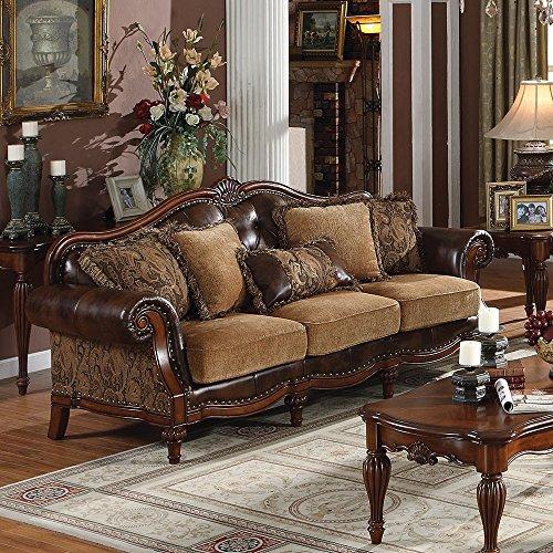 ACME 5495 AC-05495 Sofa, 2Tone Brown PU & Chenille
