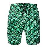 Titan's Mother Bright Green Pastel Mermaid Men's Printing Quick Dry Beach Board Shorts Swim Trunks