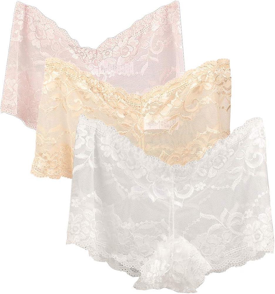 5 Pack CYUURO Womens Lace Underwear Plus Size Boyshort Panties /& Hipsters Panty