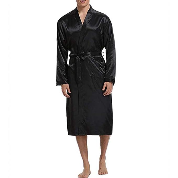 Elegante Bata para Hombre Bata de Seda Suave Satén Manga Larga Albornoz Ligera Ropa de Dormir Robe Cinturón Bolsillos Pijamas: Amazon.es: Ropa y accesorios