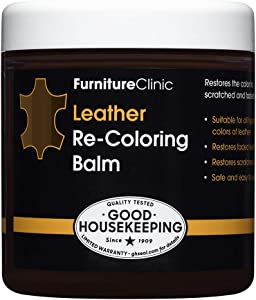 Furniture Clinic Leather Recoloring Balm (8.5 fl oz) - Leather Color Restorer for Furniture, Repair Leather Color on Faded & Scratched Leather Couches - 16 Colors of Leather Repair Cream (Dark Brown)
