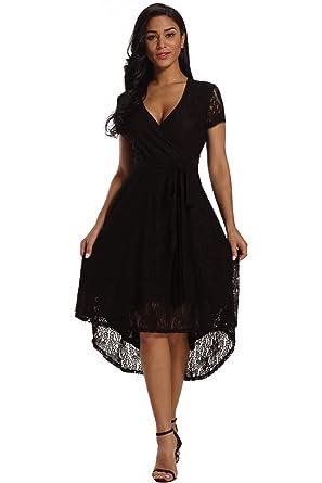 f0322738cf XAKALAKA Women s V Neck Tie Front High Low Lace Wedding Cocktail Midi Dress  Black S