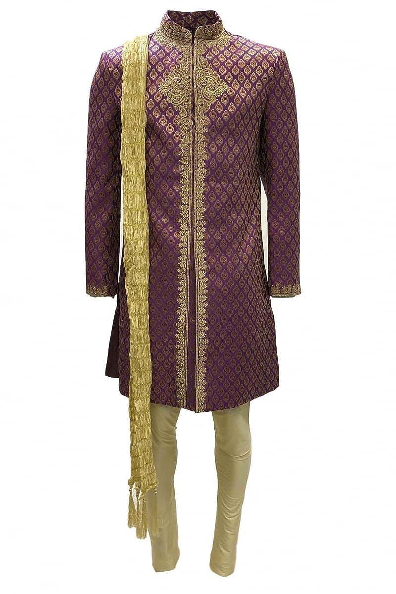 MTS4010 traje Sherwani rosa y dorado para hombre MTS4010 ...