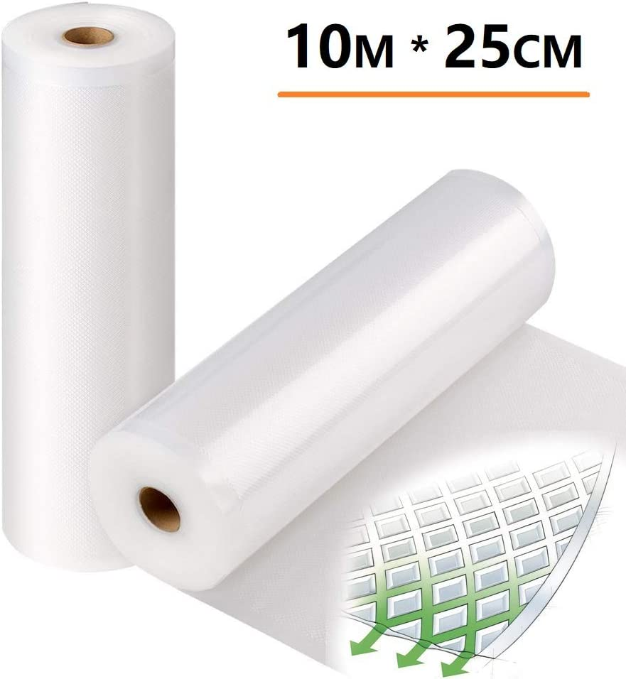 DiiDa Vacuum Food Sealer Bags Rolls [10m total] 2 Pack 25cmx5m Textured Sous Vide Storage Food Bags for Food Vacuum Sealer Machine
