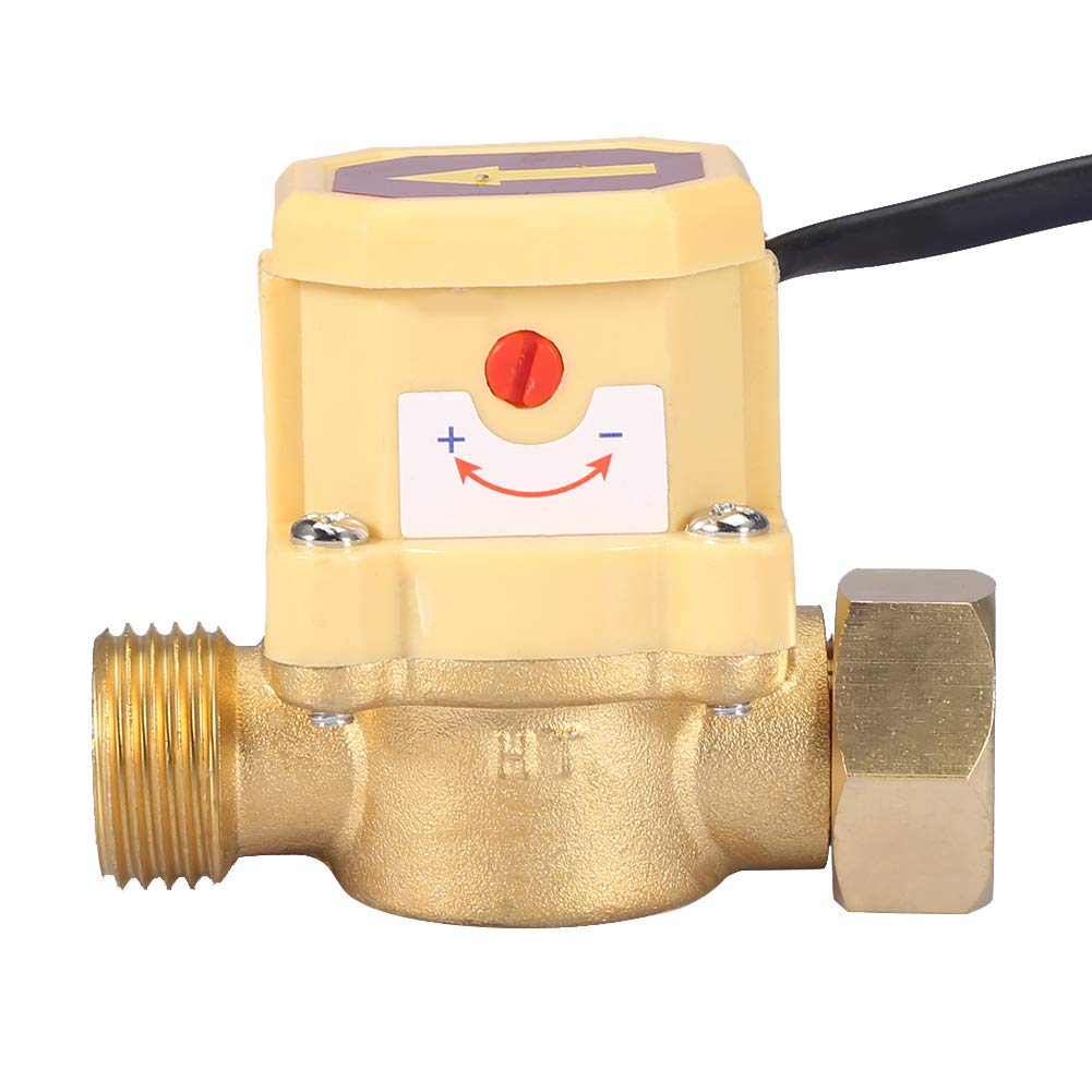 Water Flow Switch, G1/2-G1/2 Thread Water Flow Control Switch 220V Water Pump Adjustable Flow Sensor Electronic Pressure Automatic Flow Control Switch
