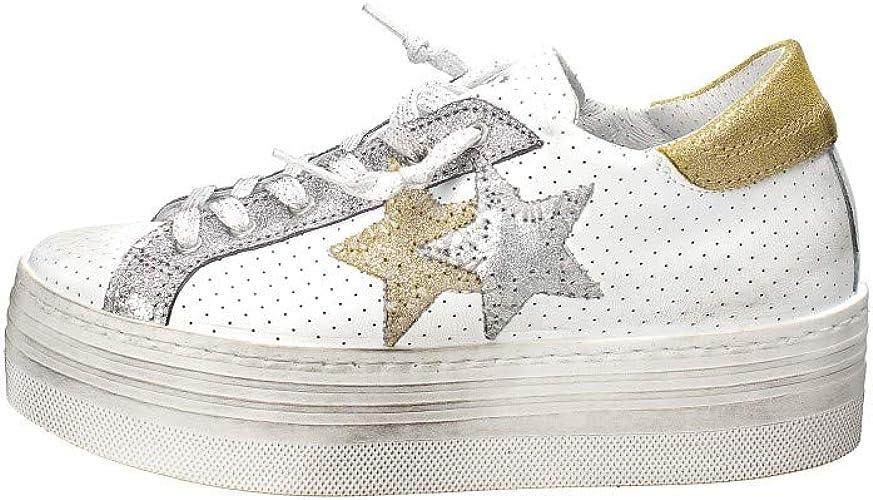 2Star Sneaker in Pelle Bianco, Bianco, 40: Amazon.it: Scarpe