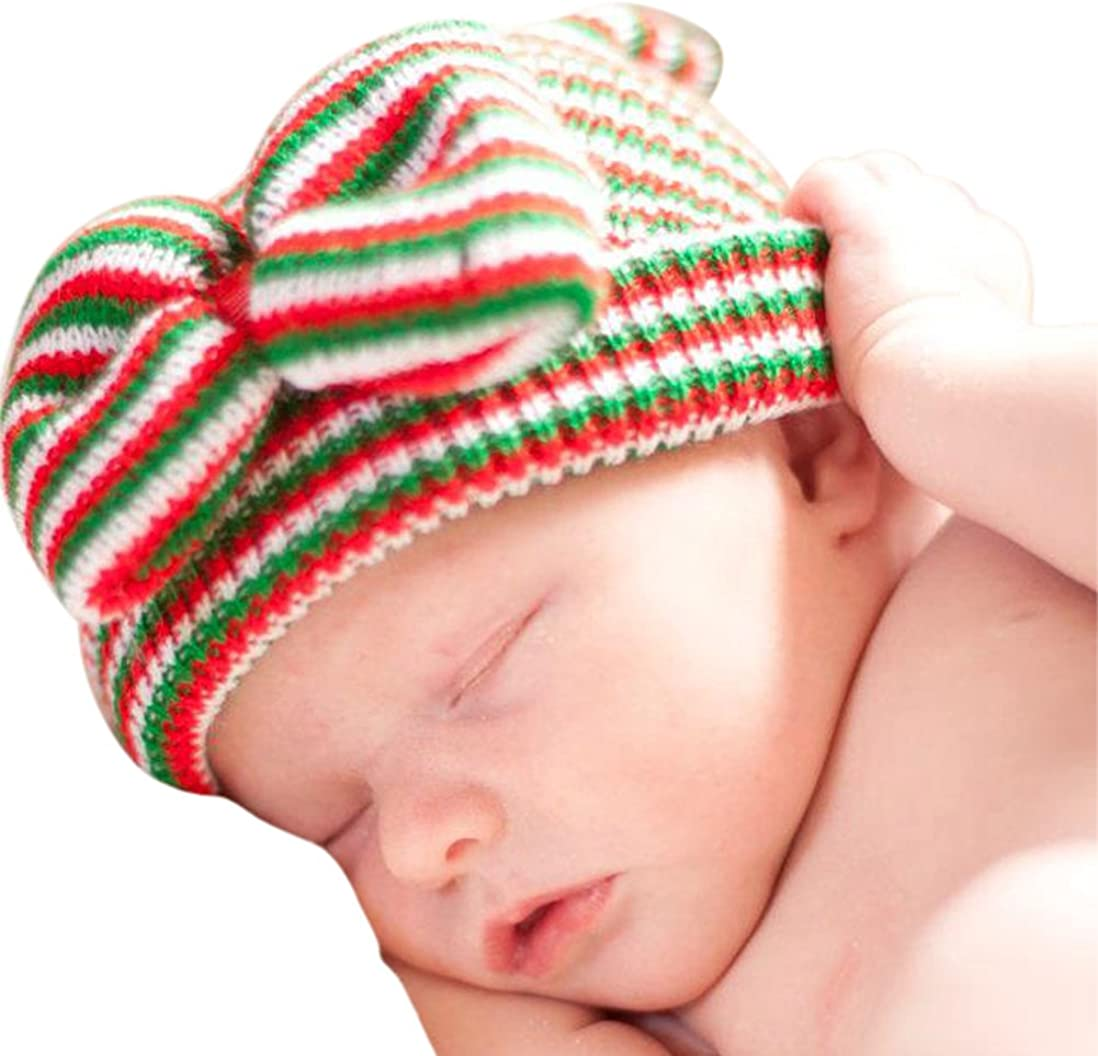 Melondipity Girls Christmas Holiday Noelle Bow Newborn Hospital Beanie Baby Hat