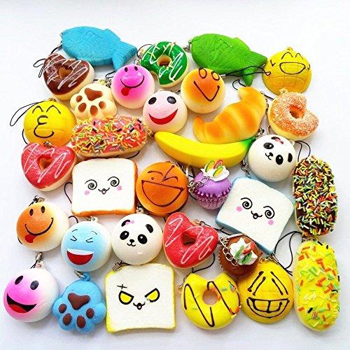 AOBOR Jumbo Medium Mini Soft Squishy Cake/Panda/Bread/Buns Phone Straps (30pcs) -