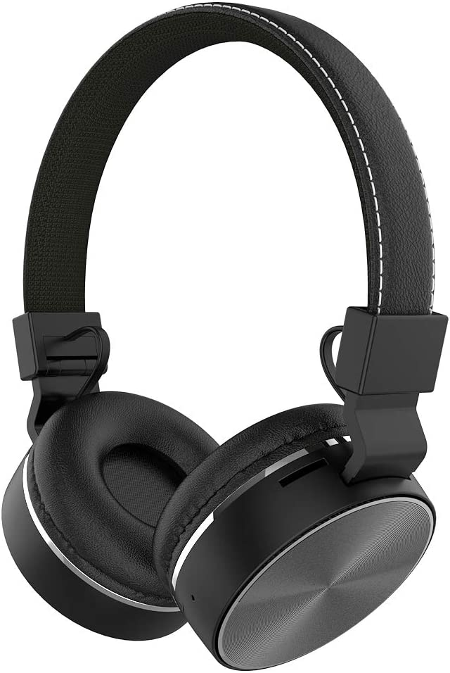 WEILIGU Headphones with Microphone and Volume Control Folding Light Weight Bluetooth Headsets for iPad iPhone iPod Tablets Smartphones Black