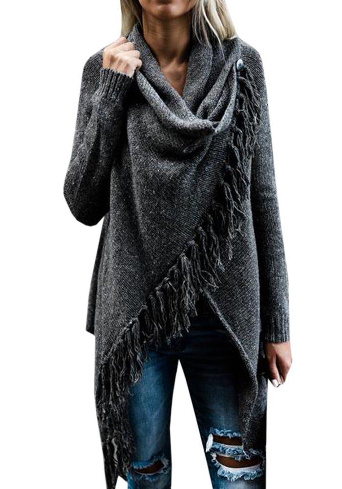 FUMIKAZU Womens Boho Long Sleeve Cardigan Buckle Fringed Tassel Open Front Knitwear (Small, Dark Gray)