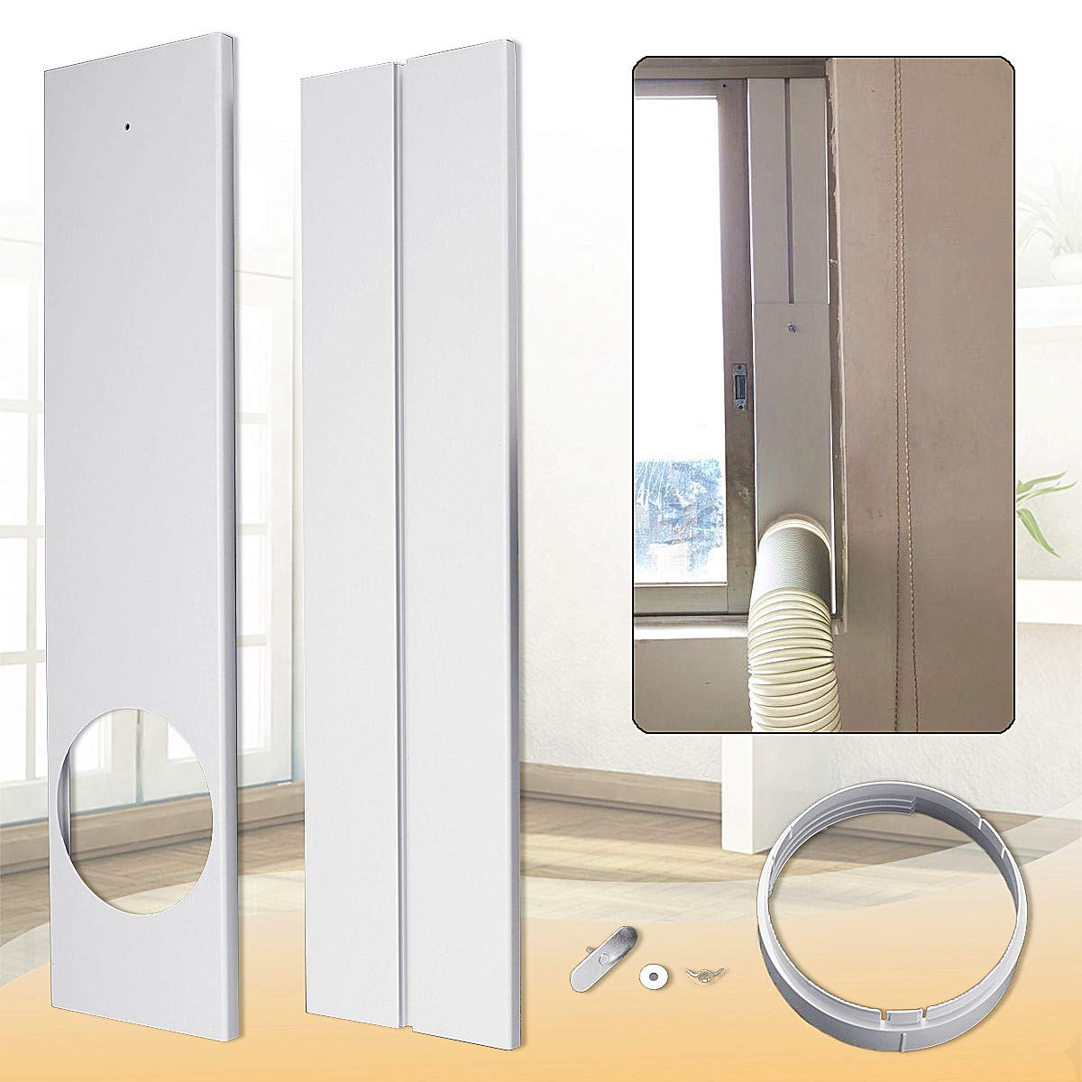 """Aozzy Portable Air Conditioner Plastic Window Kit Vent Kit for Sliding Glass Window (15CM(5.9"""") Hose, Adjustable Length between135cm-180cm Portable AC Replacement Window Slide Kit Plate Panel"""