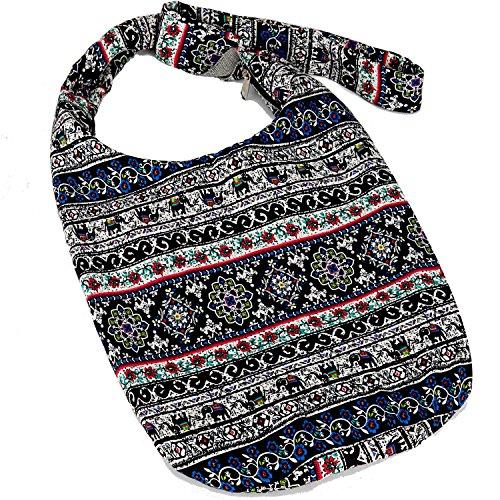 Hippie Crossbody Bag Thai Top Zip Hobo Sling Bag Handmade Hipster Messenger Bag (Blue Elephant ) (Boho Hobo)