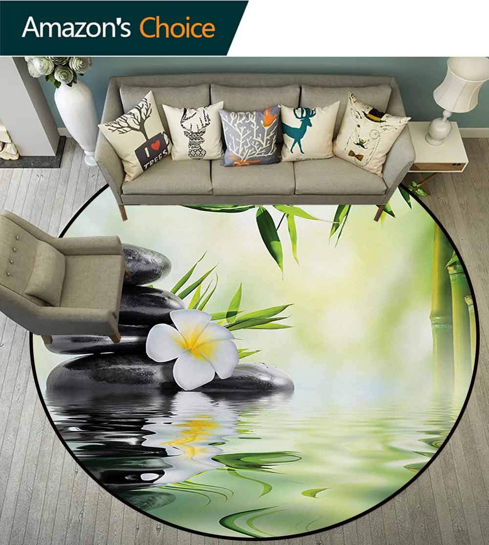 RUGSMAT Spa Modern Machine Washable Round Bath Mat,Garden with Frangipani Bamboo Japanese Relaxation Resting Travel Non-Slip Soft Floor Mat Home Decor,Diameter-39 Inch Pale Green Charcoal Grey Yellow