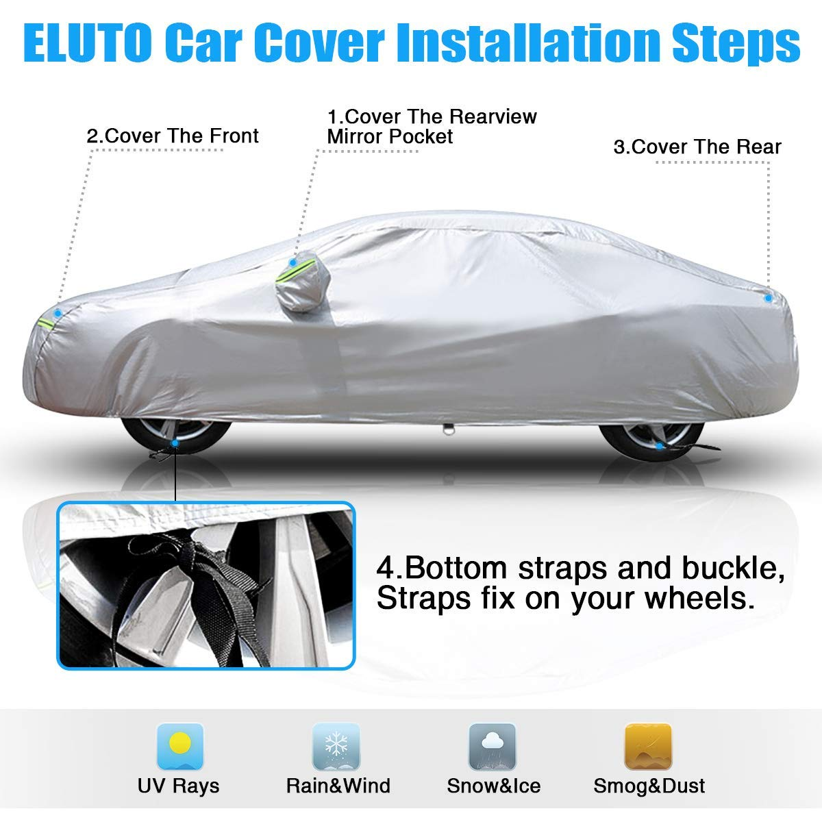 ELUTO Car Cover Outdoor Sedan Cover Waterproof Windproof All Weather Scratch Resistant Outdoor UV Protection with Adjustable Buckle Straps for Sedan Fits up to 185/'/' 185/'/'L x 70/'/'W x 60/'/'H