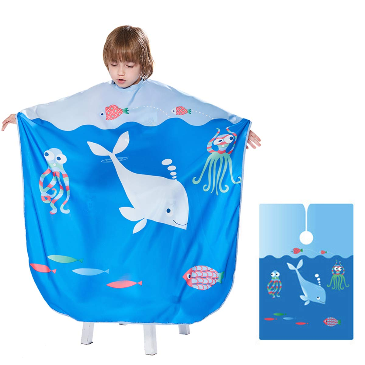 Barber Cape for Kids - Ymnenvxo Professional Hair Salon Cape with Adjustable Snap Closure Waterproof Hair Cutting Cape for Salon and Home - 51 x 36 inches (Ocean World) by Ymnenvxo