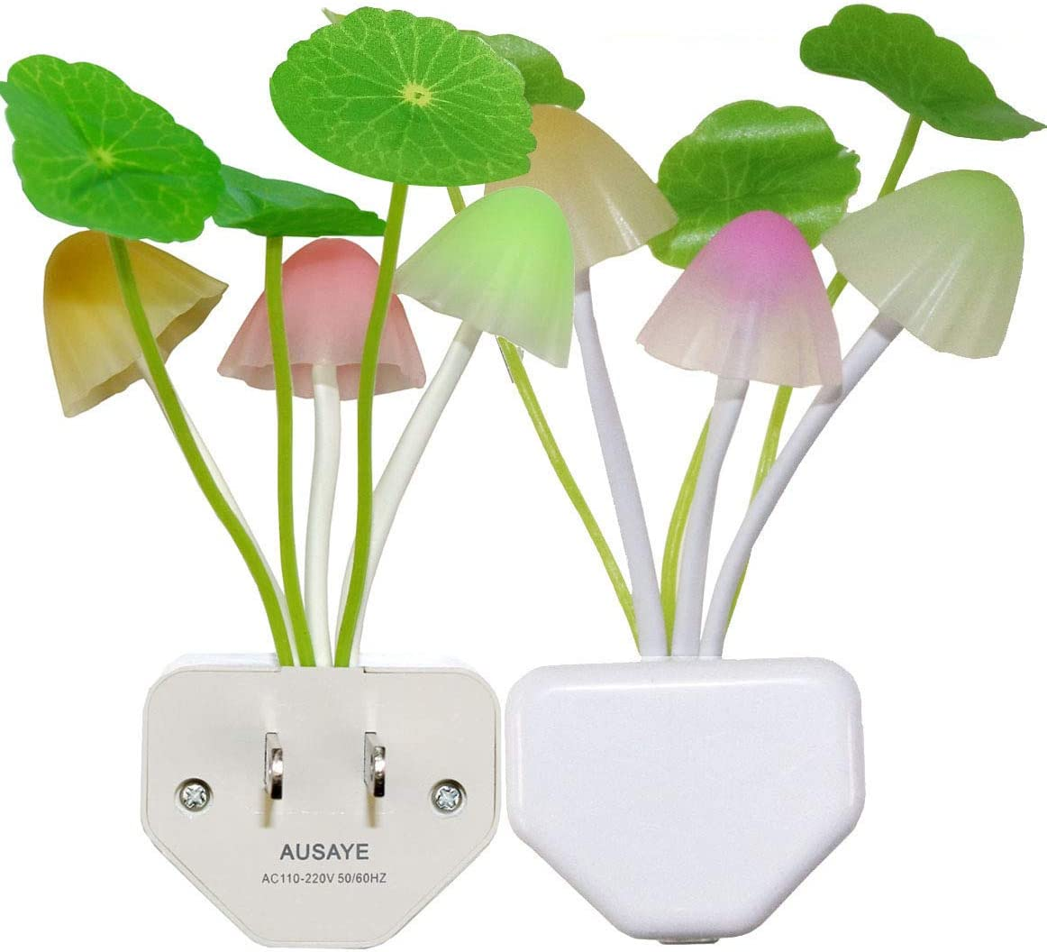 2 Pack Led Night Light w/Dusk to Dawn Sensor,AUSAYE 0.6W Plug-in Night Light Lamp, Night Lights for Kids Adults Mushroom Night Light Wall Lamps NightLight for Mothers Day Gifts