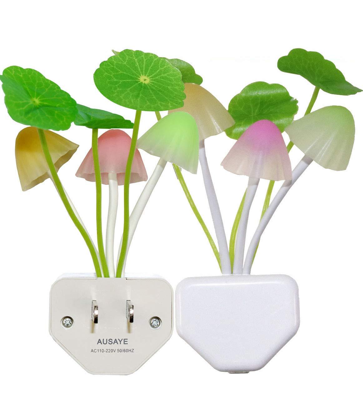 2 Pack Led Night Light w/Dusk to Dawn Sensor,AUSAYE 0.6W Plug-in Night Light Lamp