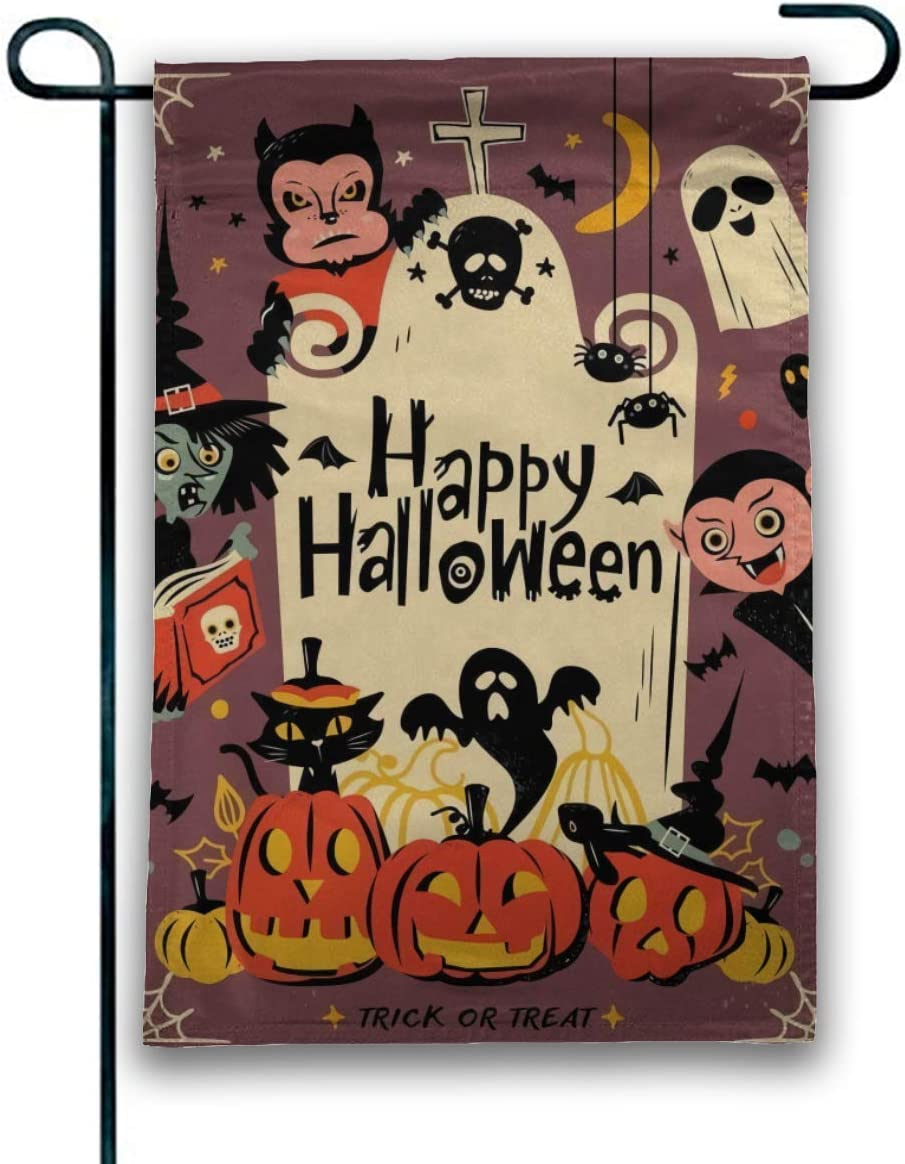 JANBOR Happy Halloween Garden Flag 12 x 18 Inches, Vertical Double-Sided Spider Ghost Black Cat Perfect for Outdoor Yard Decor